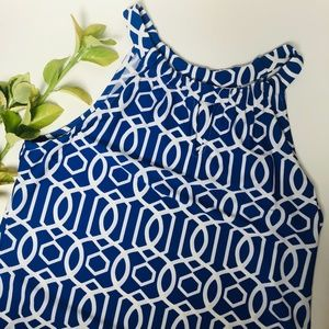 Jude Connally Dresses - Jude Connally Blue and White Print Dress Size M